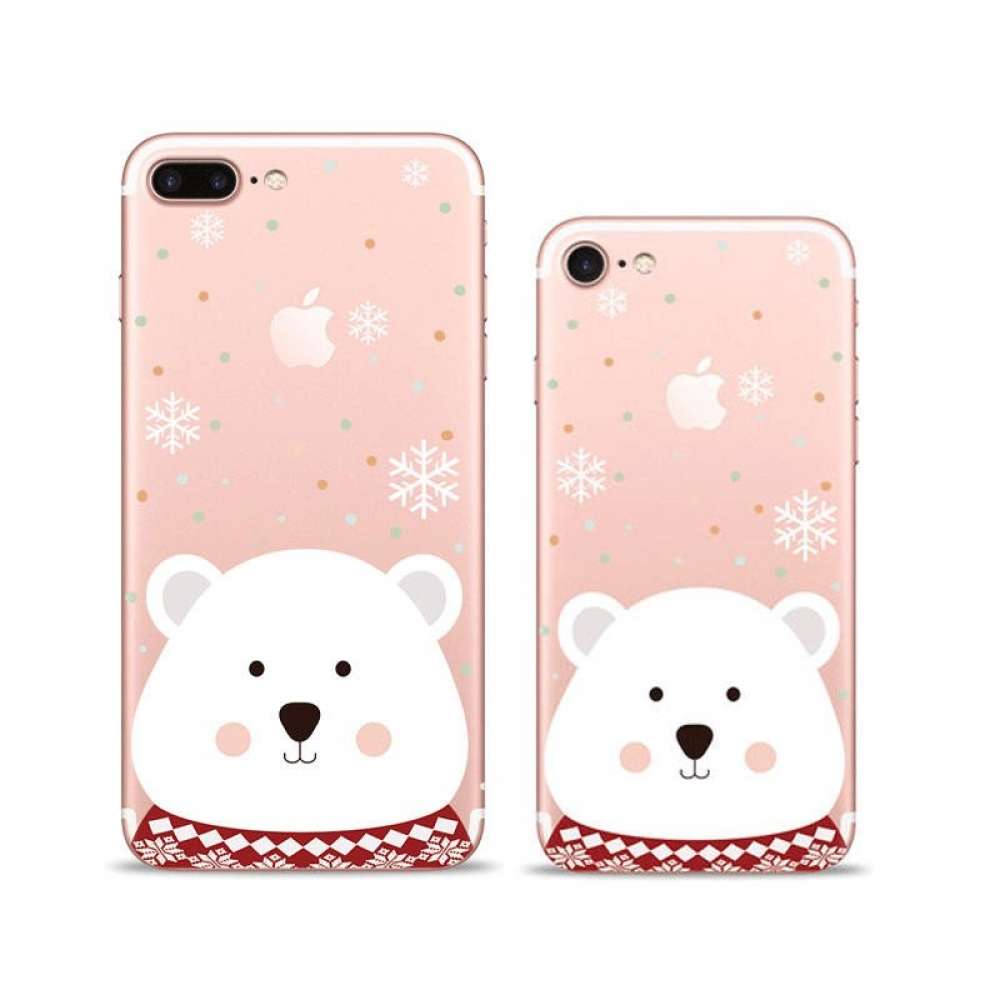 iPhone 7 7 Plus Pattern Printed Soft Clear Case White Bear Snowflakes PDair