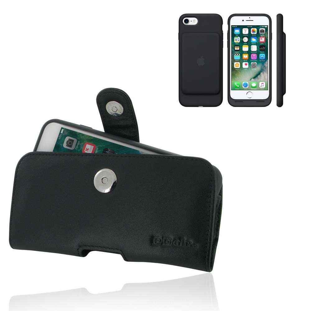 Iphone 7 in official smart battery leather holster case - Iphone 7 smart battery case ...