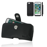 Leather Horizontal Pouch Belt Clip Case for Apple iPhone 7 in Official Smart Battery Case (Black Stitch)