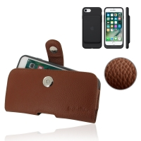 Leather Horizontal Pouch Belt Clip Case for Apple iPhone 7 in Official Smart Battery Case (Brown Pebble Leather)