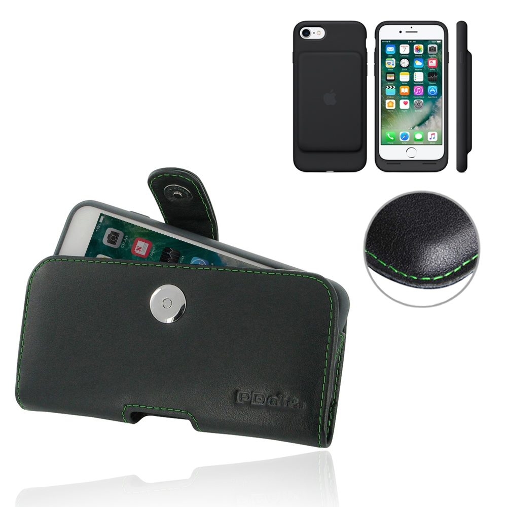 10% OFF + FREE SHIPPING, Buy PDair Handmade Protective iPhone 7 in Official Smart Battery Case Genuine Leather Holster Case (Green Stitch) online You also can go to the customizer to create your own stylish leather case if looking for additional colors, p