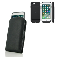 Leather Vertical Pouch Case for Apple iPhone 7 in Official Smart Battery Case (Black Stitch)