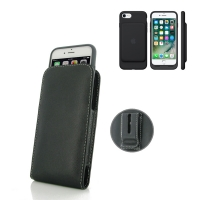 Leather Vertical Pouch Belt Clip Case for Apple iPhone 7 in Official Smart Battery Case