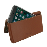 Leather Wallet Pouch for Apple iPhone 7 ( Compatible with 1.0 mm Slim Case / Cover on ) (Brown)