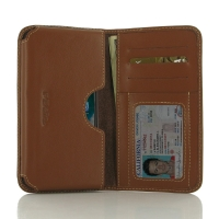 Leather Card Wallet for Apple iPhone 7 ( Compatible with 1.0 mm Slim Case / Cover on ) (Brown)