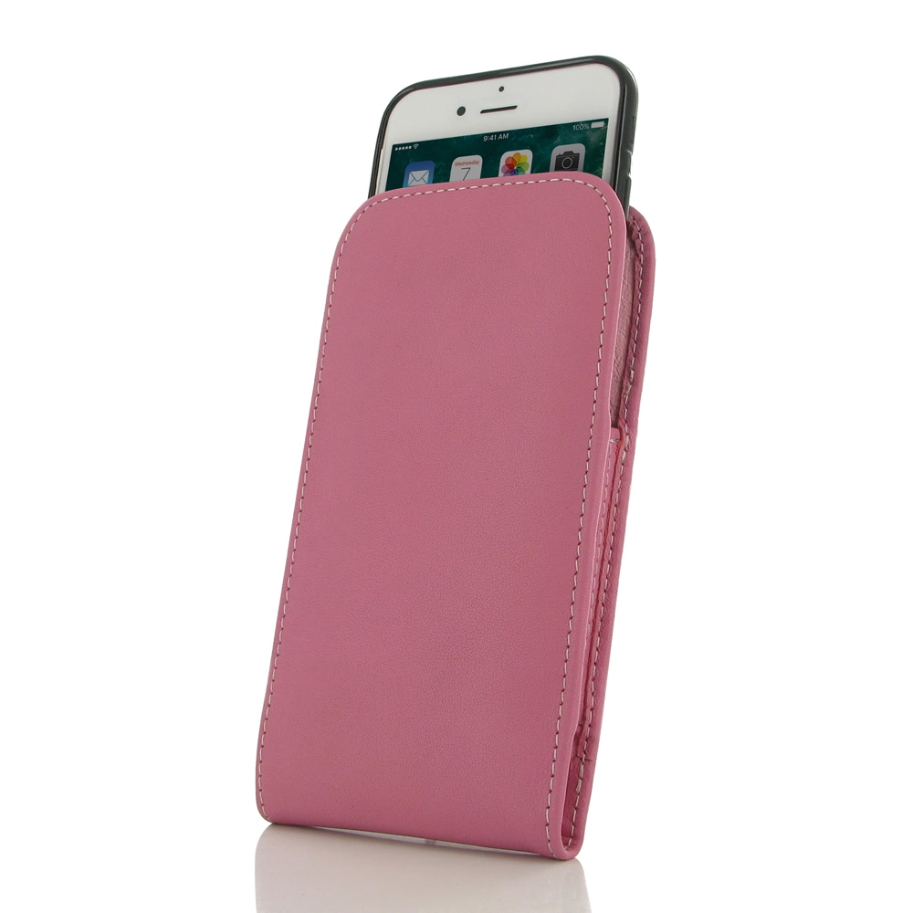 iPhone 7 (in Slim Cover) Pouch Case (Petal Pink) PDair Premium Hadmade Genuine Leather Protective Case Sleeve Wallet