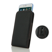 Leather Vertical Pouch Belt Clip Case for Apple iPhone 7 ( Compatible with 1.0 mm Slim Case / Cover on ) (Black Pebble Leather/Red Stitch)