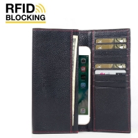 Continental Leather RFID Blocking Wallet Case for Apple iPhone 7 (Black Pebble Leather/Red Stitch)