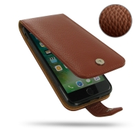 Leather Flip Wallet Case for Apple iPhone 7 (Brown Pebble Leather)
