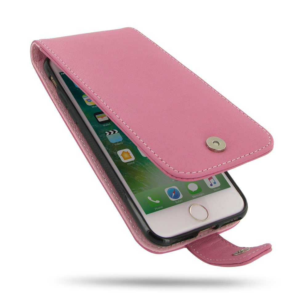 iPhone 7 Leather Flip Wallet Case (Petal Pink) PDair Premium Hadmade Genuine Leather Protective Case Sleeve Wallet