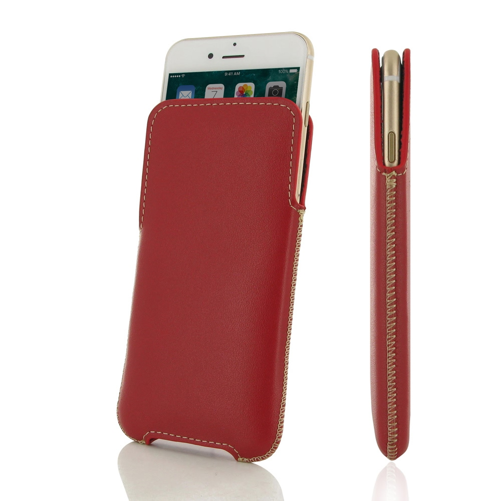 iPhone 7 Leather Pocket Pouch (Red) PDair Premium Hadmade Genuine Leather Protective Case Sleeve Wallet