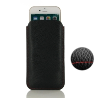Simple Leather Pouch Case for Apple iPhone 7 (Black Pebble Leather/Red Stitch)
