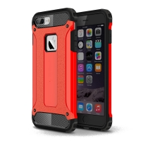 iPhone 7 Plus Hybrid Dual Layer Tough Armor Case (Red) :: PDair