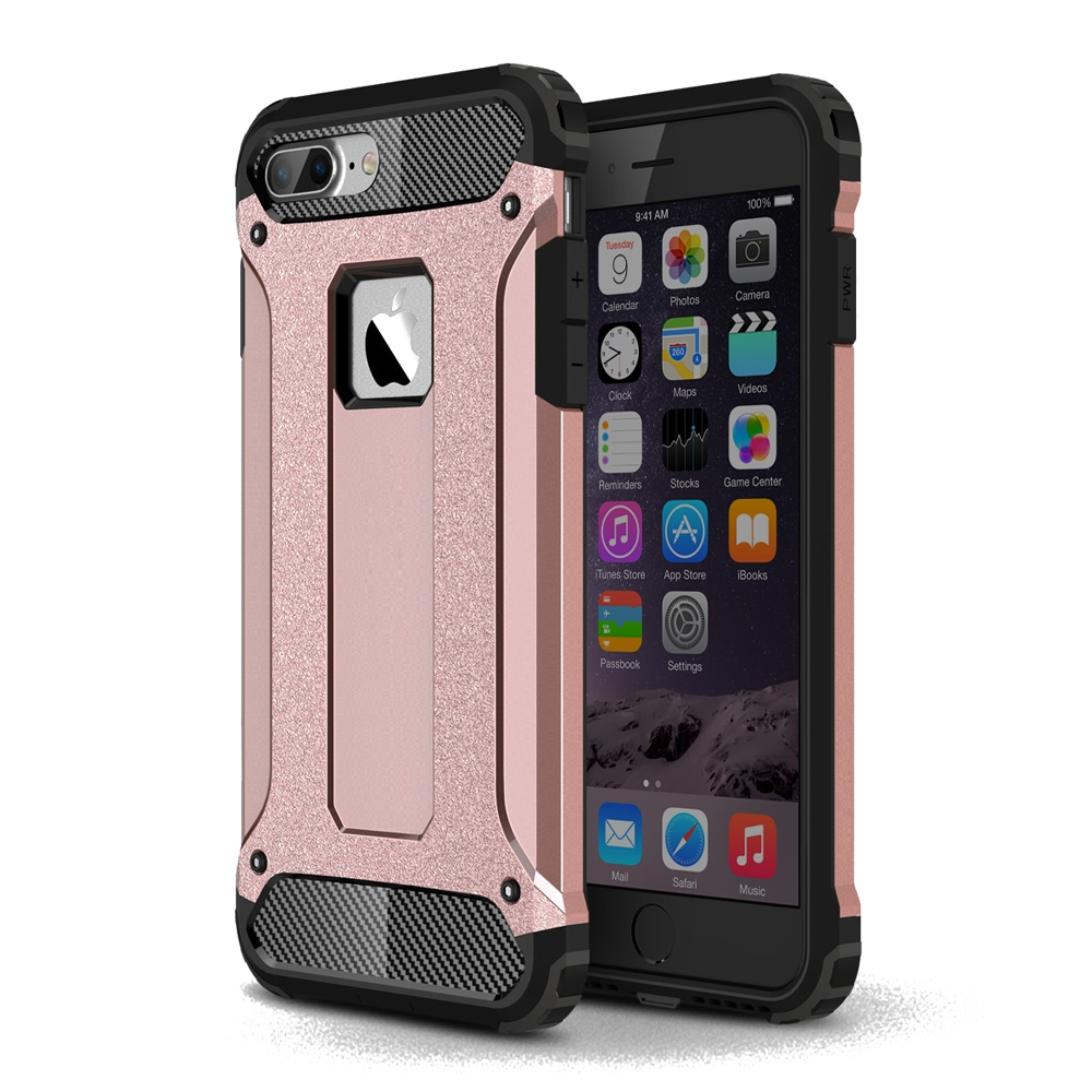 size 40 1bd9a 98691 Hybrid Dual Layer Tough Armor Protective Case for Apple iPhone 7 Plus (Rose  Gold)