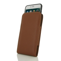 iPhone 7 Plus (in Slim Cover) Pouch Case (Brown) PDair Premium Hadmade Genuine Leather Protective Case Sleeve Wallet