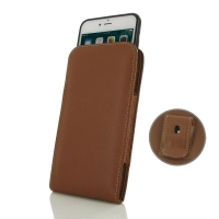 iPhone 7 Plus (in Slim Cover) Pouch Clip Case (Brown) PDair Premium Hadmade Genuine Leather Protective Case Sleeve Wallet