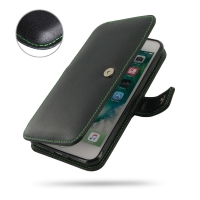 Leather Book Case for Apple iPhone 7 Plus (Green Stitch)