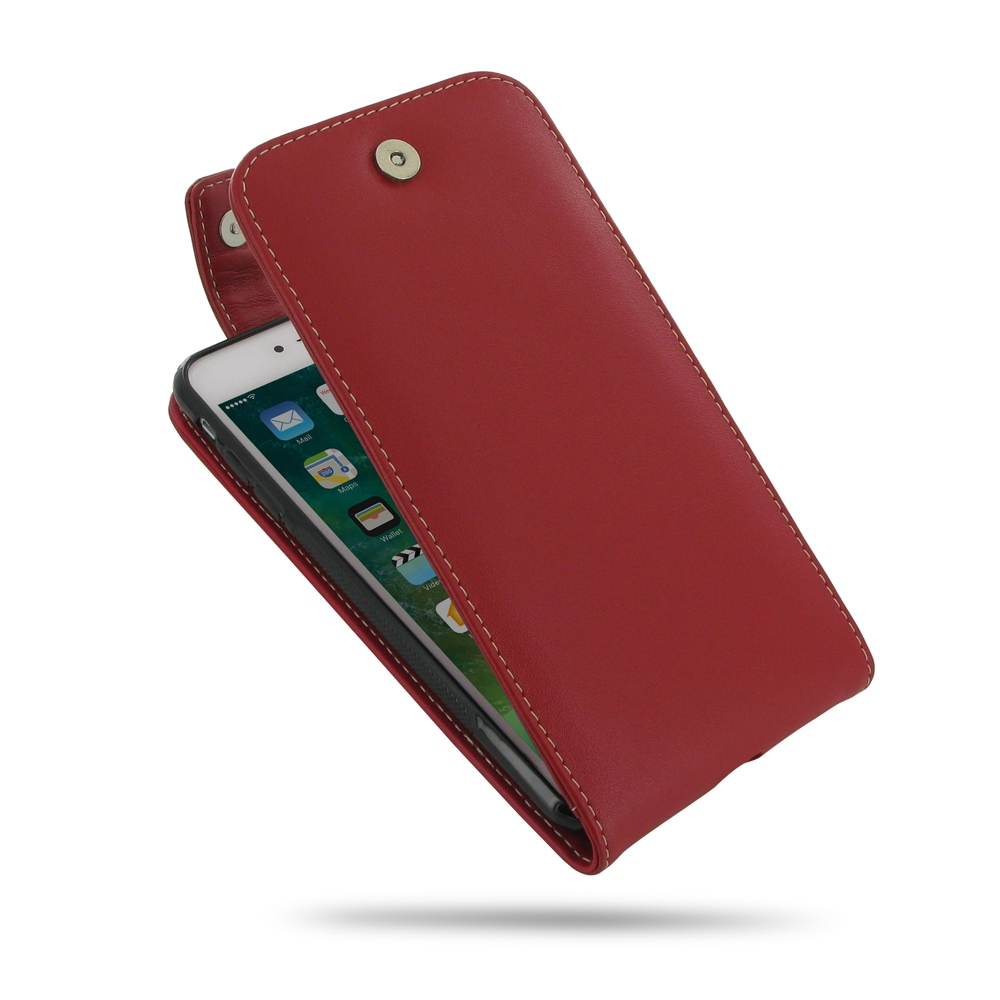 iPhone 7 Plus Leather Flip Top Wallet Case (Red) PDair Premium Hadmade Genuine Leather Protective Case Sleeve Wallet