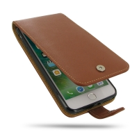 iPhone 7 Plus Leather Flip Wallet Case (Brown) PDair Premium Hadmade Genuine Leather Protective Case Sleeve Wallet
