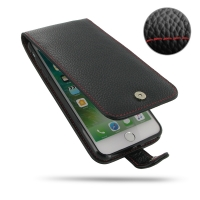 Leather Flip Wallet Case for Apple iPhone 7 Plus (Black Pebble Leather/Red Stitch)