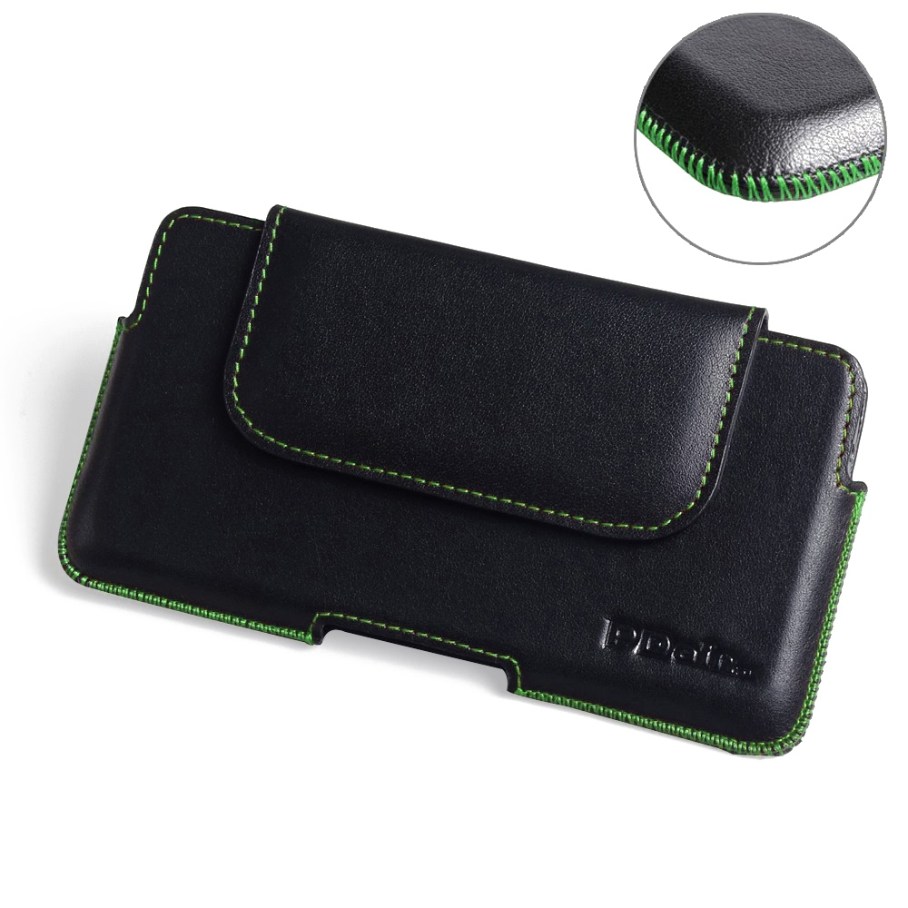 iPhone 7 Plus Leather Holster Pouch Case (Green Stitch) PDair Premium Hadmade Genuine Leather Protective Case Sleeve Wallet