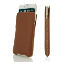 iPhone 7 Plus Leather Pocket Pouch (Brown) PDair Premium Hadmade Genuine Leather Protective Case Sleeve Wallet