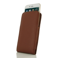 iPhone 7 Plus Leather Sleeve Pouch Case (Brown Pebble Leather) PDair Premium Hadmade Genuine Leather Protective Case Sleeve Wallet