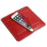 iPhone 7 Plus Leather Sleeve Wallet (Red) PDair Premium Hadmade Genuine Leather Protective Case Sleeve Wallet