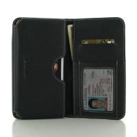 iPhone 7 Plus Leather Wallet Sleeve Case (Black) PDair Premium Hadmade Genuine Leather Protective Case Sleeve Wallet