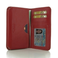 iPhone 7 Plus Leather Wallet Sleeve Case (Red) PDair Premium Hadmade Genuine Leather Protective Case Sleeve Wallet