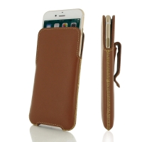 iPhone 7 Plus Luxury Pouch Case with Belt Clip (Brown) PDair Premium Hadmade Genuine Leather Protective Case Sleeve Wallet