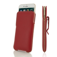 iPhone 7 Plus Luxury Pouch Case with Belt Clip (Red) PDair Premium Hadmade Genuine Leather Protective Case Sleeve Wallet