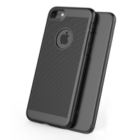 Ultra Slim Shockproof Premium Matte Finish Mesh Hard Case for Apple iPhone 7 (Black)
