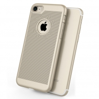 Ultra Slim Shockproof Premium Matte Finish Mesh Hard Case for Apple iPhone 7 (Gold)