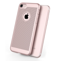 Ultra Slim Shockproof Premium Matte Finish Mesh Hard Case for Apple iPhone 7 (Rose Gold)