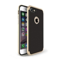 Gingham Pattern Plastic Case for Apple iPhone 8 (Gold)
