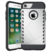 Hybrid Combo Aegis Armor Case Cover for Apple iPhone 8 (Silver)