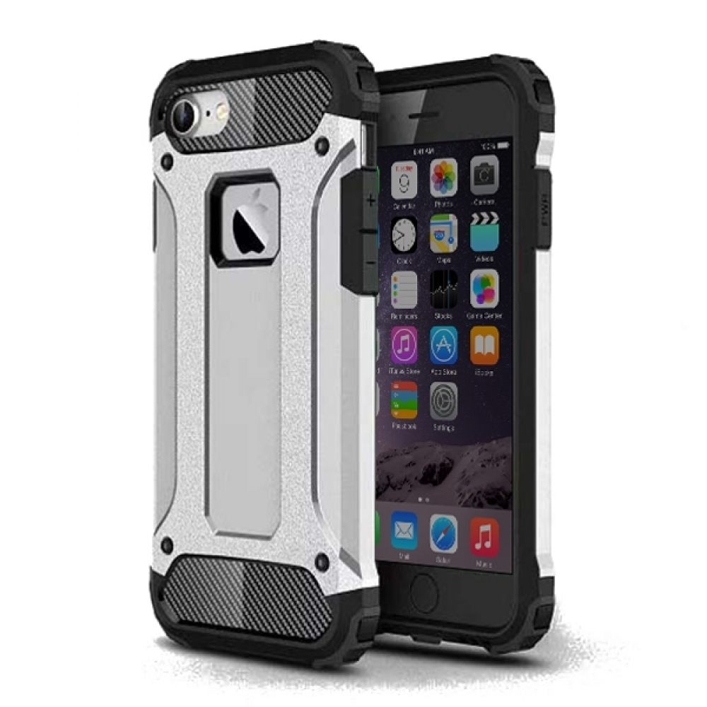 Hybrid Dual Layer Tough Armor Protective Case for Apple iPhone 8 (Silver)