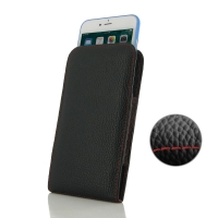 Leather Vertical Pouch Case for Apple iPhone 8 ( Compatible with 1.0 mm Slim Case / Cover on ) (Black Pebble Leather/Red Stitch)