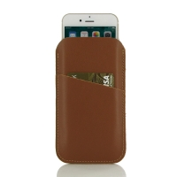 Simple Leather Card Holder Pouch Case for Apple iPhone 8 (Brown)