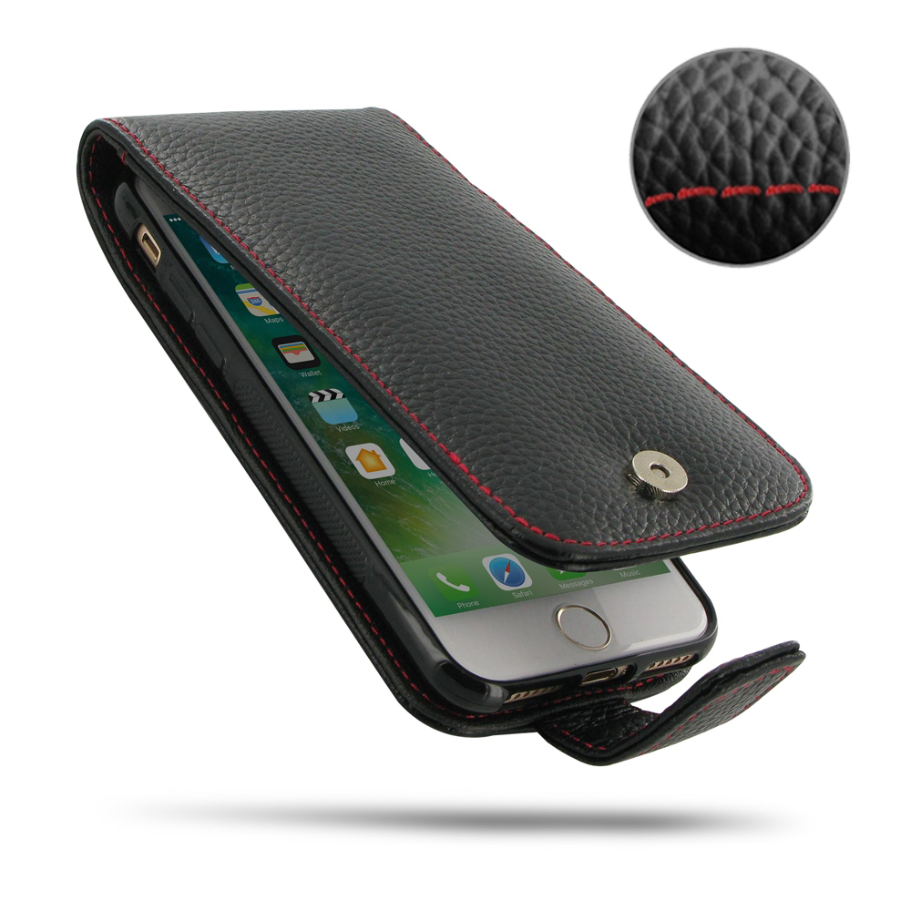 Leather Flip Wallet Case for Apple iPhone 8 (Black Pebble Leather/Red Stitch)