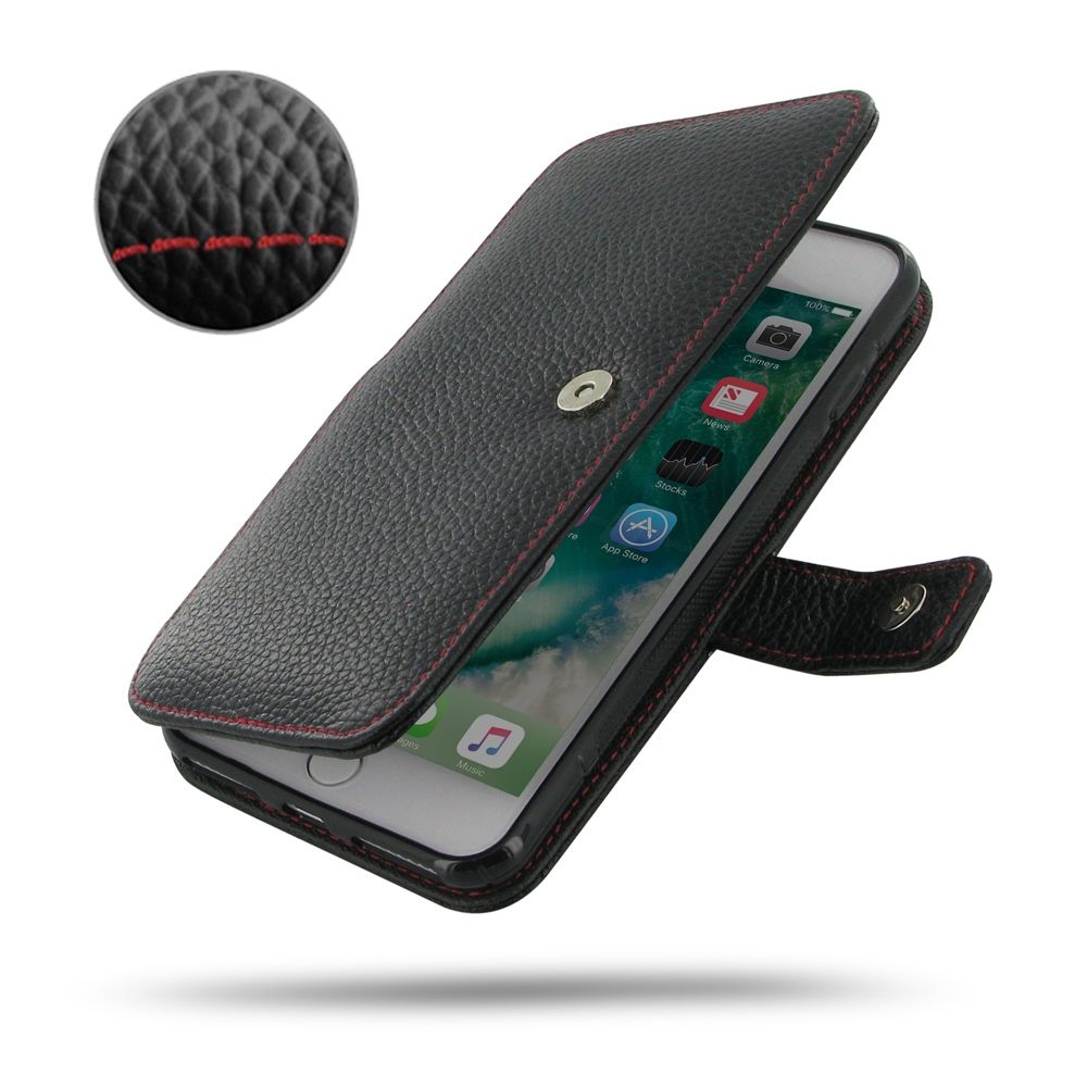 Leather Book Case for Apple iPhone 8 (Black Pebble Leather/Red Stitch)