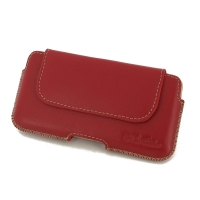 Luxury Leather Holster Pouch Case for Apple iPhone 8 (Red)