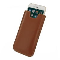 Leather Vertical Sleeve Pouch Case for Apple iPhone 8 (Brown)