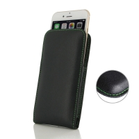 Leather Vertical Pouch Case for Apple iPhone 8 (Green Stitch)