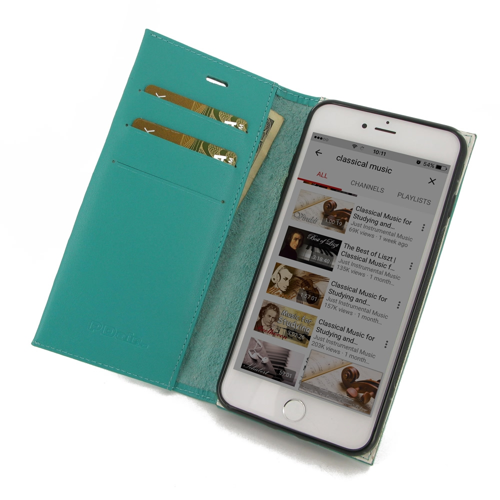 Leather Book Stand Wallet Case for Apple iPhone 8 (Aqua)