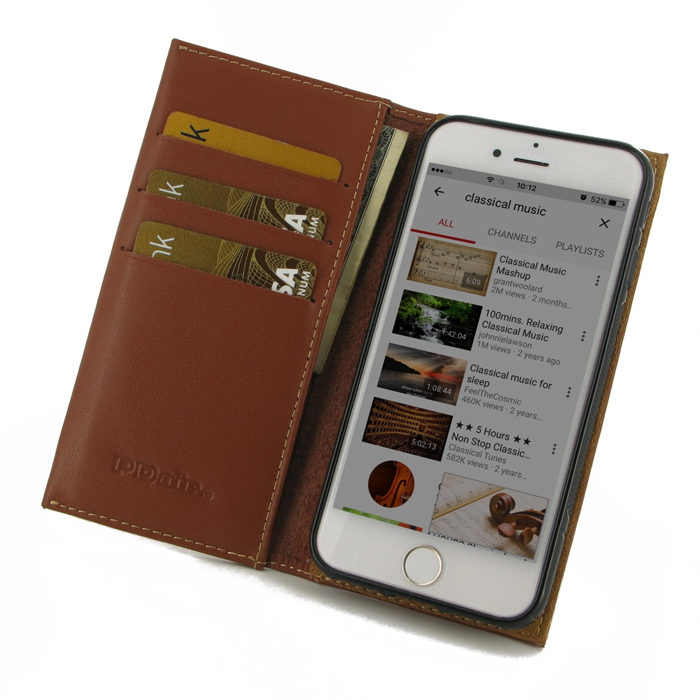 Leather Book Stand Wallet Case for Apple iPhone 8 (Brown)