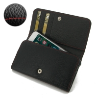 Leather Wallet Case for Apple iPhone 8 (Black Pebble Leather/Red Stitch)
