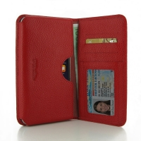Leather Card Wallet for Apple iPhone 8 (Red Pebble Leather)