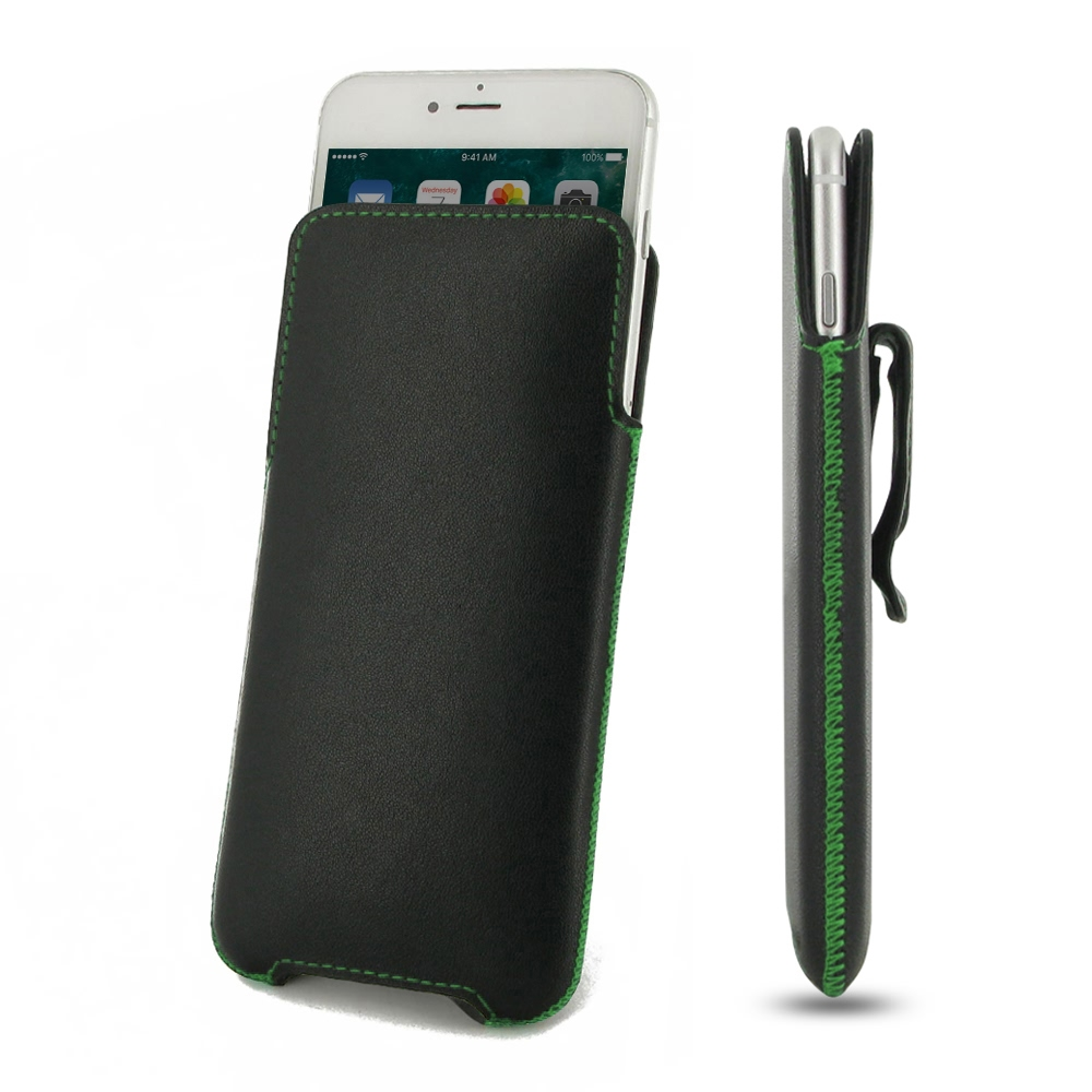 Luxury Leather Pouch Belt Clip Case for  Apple iPhone 8 (Green Stitch)